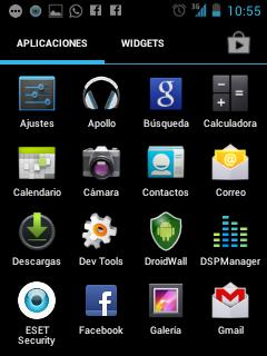 Android 4 menù lg l3