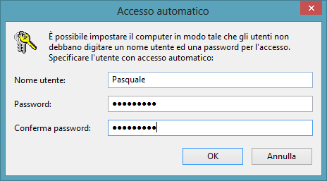 Accesso automatico Windows 8