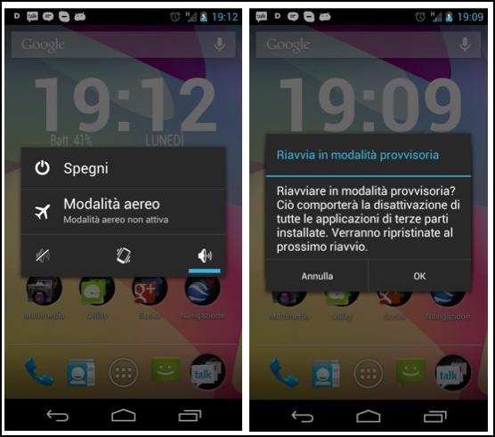 Guida modalità provvisoria Android