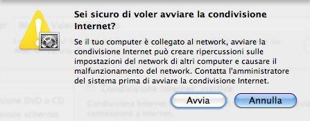 Condivisione Internet MAC OS Airport