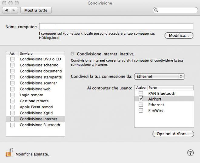 Convisione Internet MAC OS