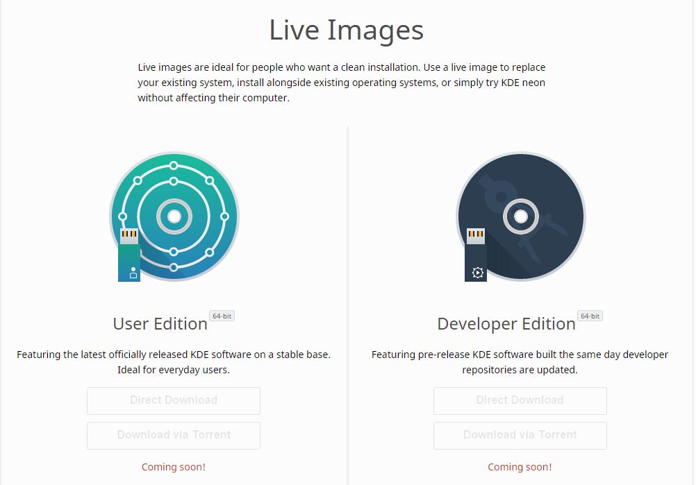 KDE Neon live iso