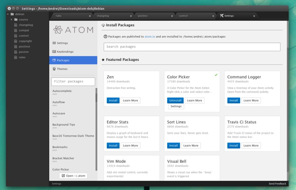 atom editor di testo