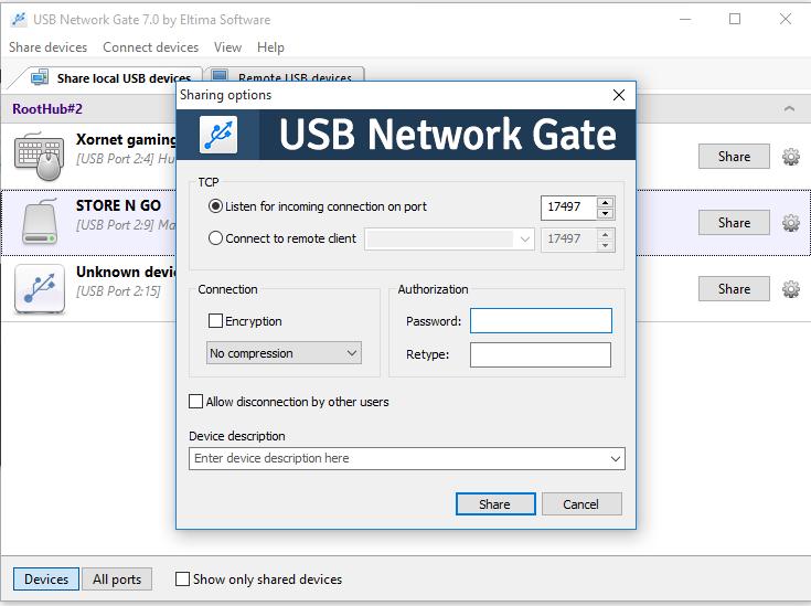 usb network gate configurazione
