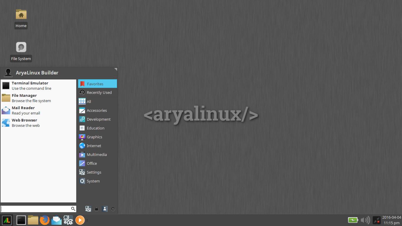 AryaLinux 2016.04 Xfce.