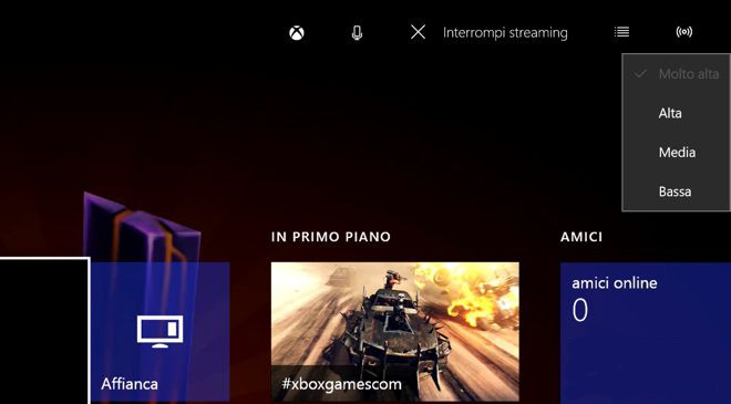 qualità streaming xbox one guida