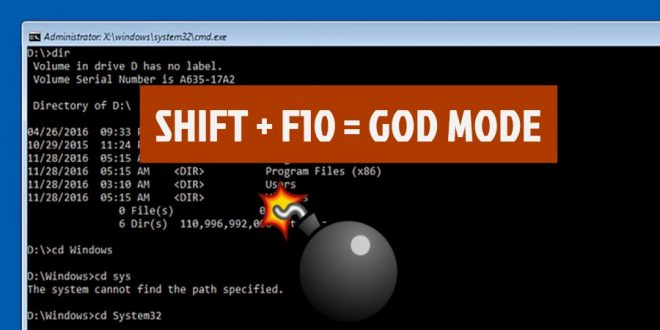 Hackerare Windows: SHIFT+F10 ed è subito magia!